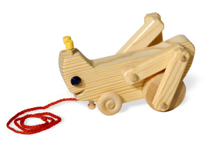 Gertie Grasshopper wooden pull toy